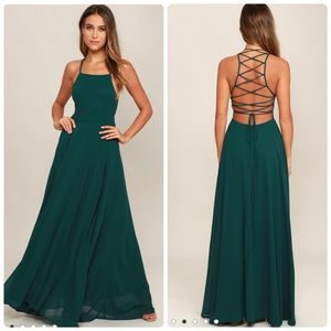 Lulu's Strappy To Be Here Forest Green Maxi Dress